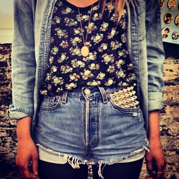 : Floral Prints, Shorts Outfits, Clothing, Double Denim, Free People, Studs Shorts, Jeans Shorts, High Waist Shorts, Hipster Outfits