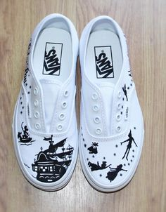 """PETER PAN """" VANS """" Wendy Disney Custom hand painted canvas shoes with laces…"""