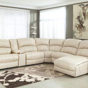 Overstuffed White Leather Sofa