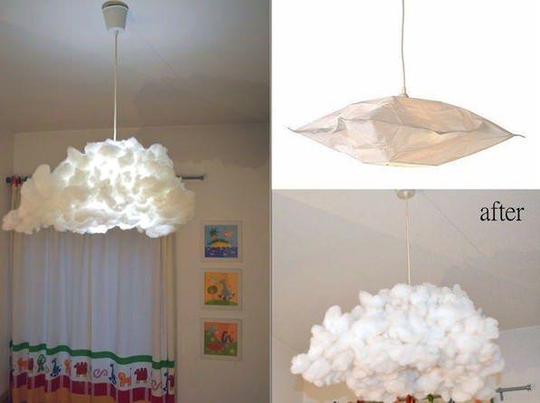 habitaciones infantiles diy lampara nube Hacks de Ikea para un dormitorio infantil