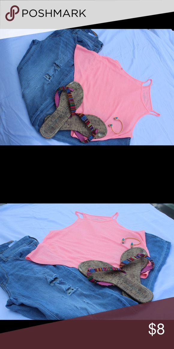 Pink crop cami top TOP for grabs  How I would wear it - ripped or boyfriend jeans, w/ cute patterned flats and gold accessories  - Pink - straps - slightly sheer ( bandeau top underneath recommended) - soft material   #bright #pink #strappy #summertime #top #shirt #cami #tank Tops Camisoles