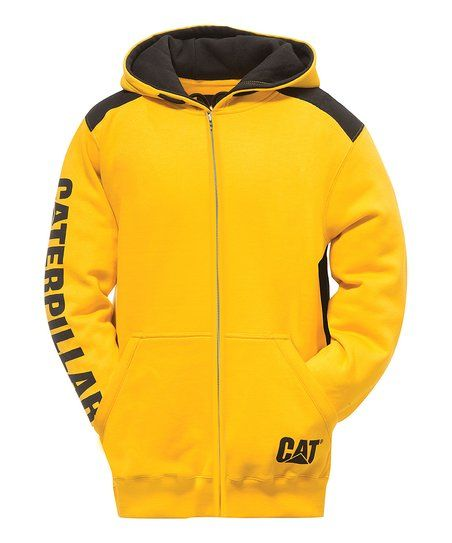 CAT Yellow Logo Panel Zip-Up Hoodie - Men | zulily