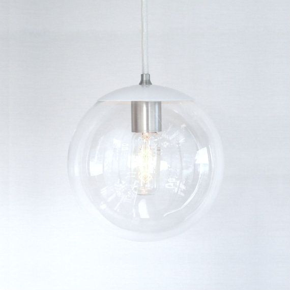 White Pendant Light Mid Century Modern 8 Clear by TheiaLuminaires, $149.00
