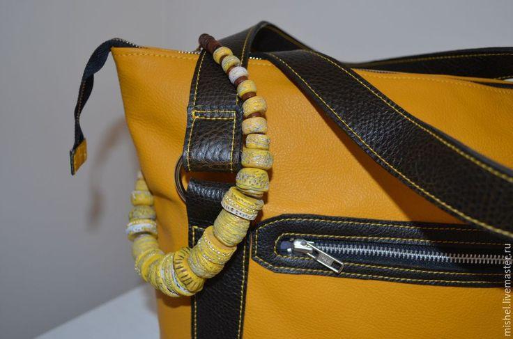 Купить Сумка желтая + бусы+ пояс - желтый, сумка ручной работы, сумка