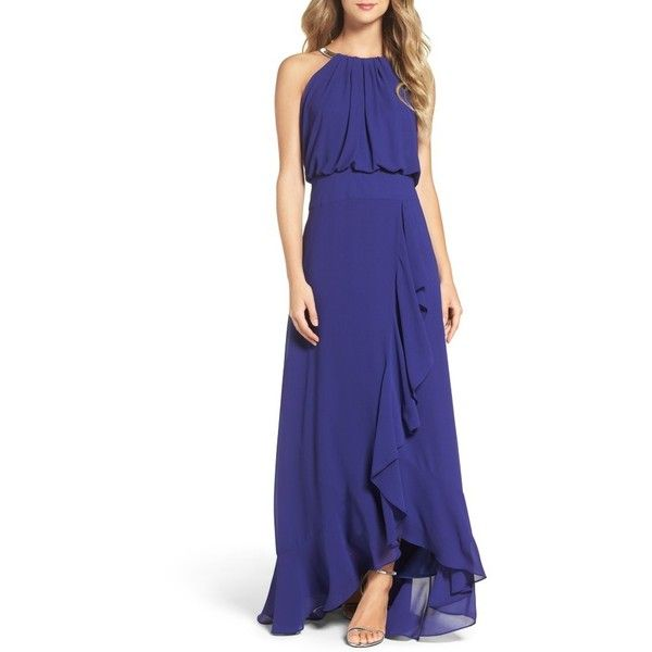 Petite Women's Eliza J Chiffon Ruffle Gown (€81) ❤ liked on Polyvore featuring dresses, gowns, petite, royal, chiffon evening dresses, blue ball gown, chiffon gowns, petite evening gowns and blue evening dresses