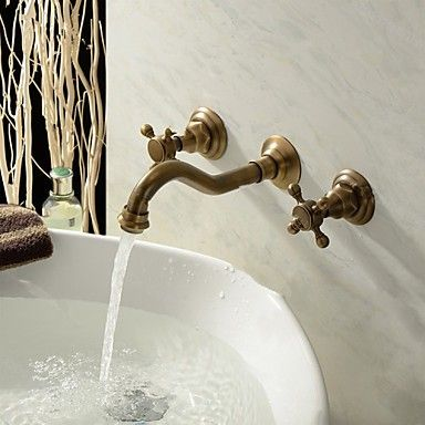 Wand montiert zwei Griffe drei Löcher im antiken Messing Waschbecken Wasserhahn