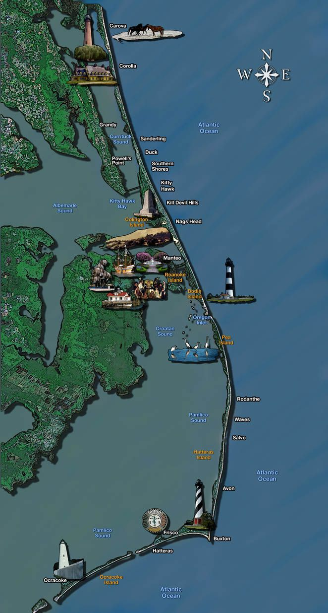 Best Outer Banks Maps Images On Pinterest Outer Banks North - Map of the carolinas usa