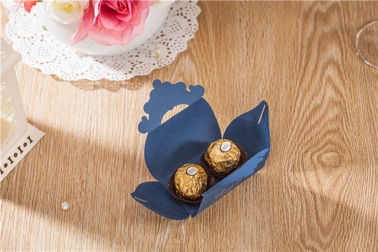 50 stks Luxe Marineblauw Dozen Snoep Wedding Favor Box Gold Crown Craft Zoete Gift Bag Feestartikelen