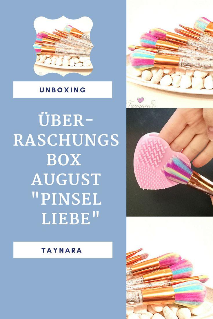 """Die Überraschungsbox August steht unter dem Motto """"Pinsel Liebe"""". Ihr könnt eine prall gefüllte Box mit allerhand Kosmetik und dem abgebildeten Regenbogen Pinselset und den Pinselreiniger gewinnen!"""