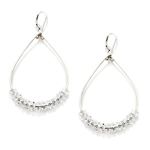 Deb Guyot Designs Floating Herkimer Quartz Sterling Silver Hoop Earrings at HSN.com.