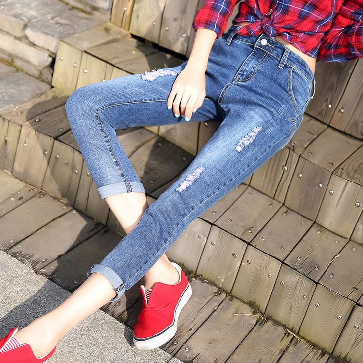 New 2016 Fashion Sexy Ladies Cotton Denim Pants Stretch Womens Bleach Ripped Skinny Jeans Denim Jeans For Female Spring Summer - Ali Style Ali Style