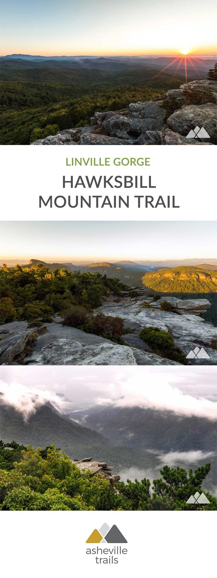 Hike to the Hawksbill Mountain summit in NC's Linville Gorge, scaling the mountain's craggy, jagged summit to outstanding mountaintop views and spectacular sunrises. #hiking #trailrunning #camping #backpacking #asheville #nc #northcarolina #travel #outdoors #adventure
