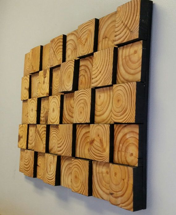 Reclaimed Pallet Wood 2 Piece Mosaic Wall Art.  Made to order 2 piece wall hanging wood mosaic décor. Can be hung separately or side by side to