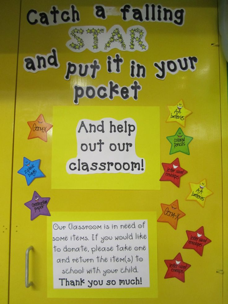 Hollywood/Space Themed Classroom Wish List: Posted on a cabinet door in front of the classroom, each star lists a classroom need. Parents can take a star and provide the desired item. Taking the star prevents duplicates from being provided and allows a strong visual for you to see what's needed. Board is updated as needs arise.