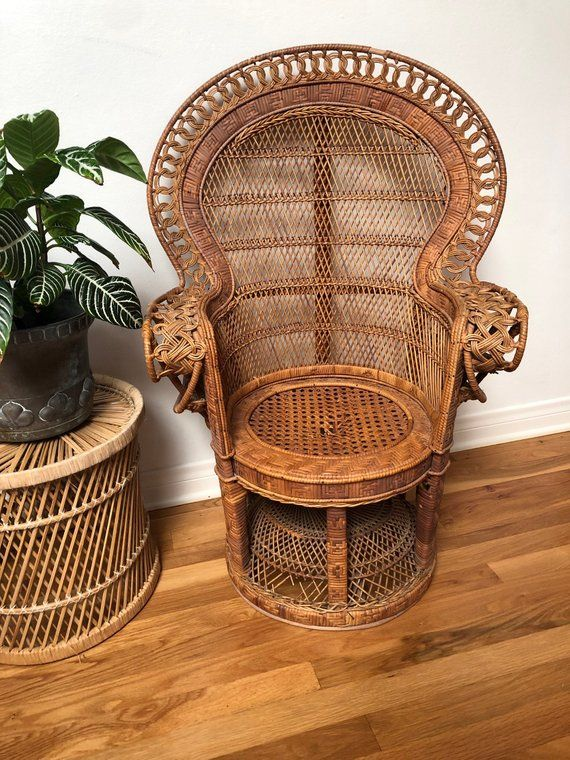 Beautiful Vintage Child Size Peacock Wicker Chair 36 Etsy
