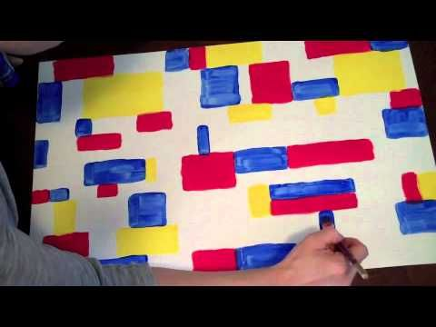 ▶ How to make your own Piet Mondrian painting - YouTube