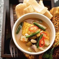 Indonesian Sayur asem - Various vegetables in tamarind soup