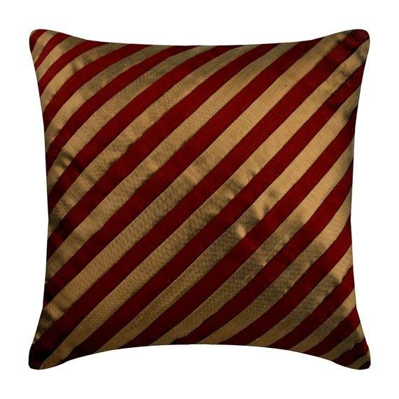Patchwork Striped Ripples Of The Heart Cotton Linen Throw Pillow Cover Pintucks 16x16 Designer Red Pillow Case Cover Textured