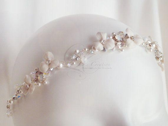 "Floral Bridal Headband, ""Crystal Snow"", White Opal - White Bridal Head Piece, Wedding White Floral Crown"
