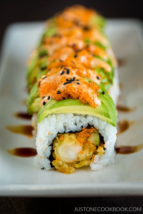 Dragon Roll | Easy Japanese Recipes at JustOneCookbook.com  but add cream cheese  and maybe crab... also eel sauce.