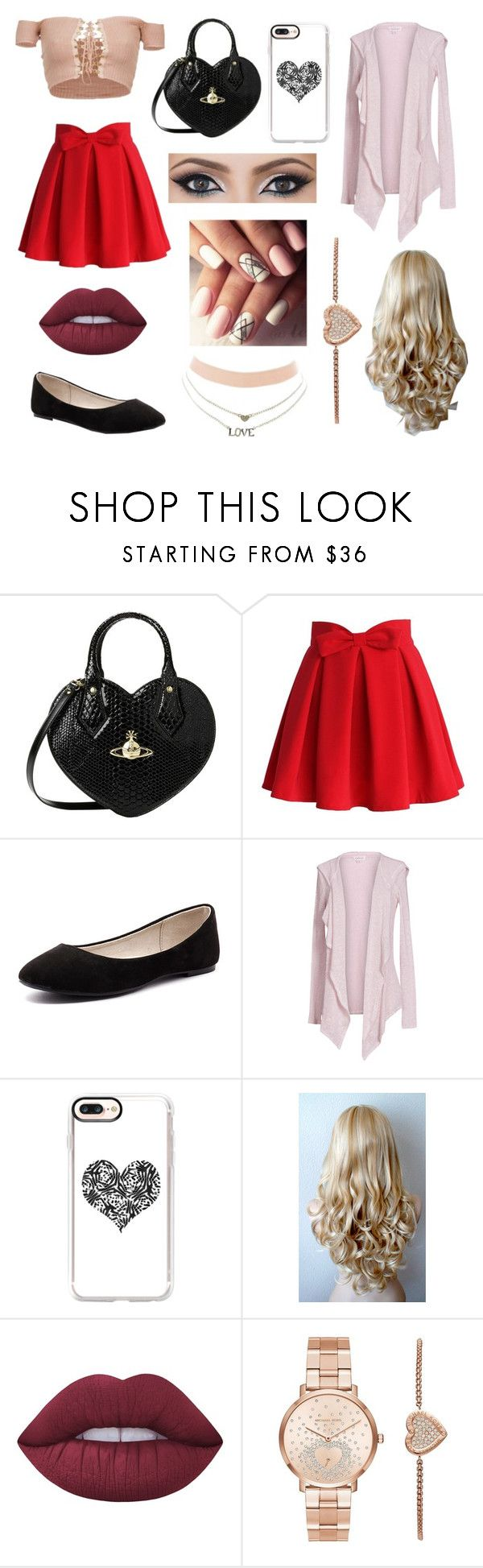 """""""Valentines Day Outfit"""" by fandoms-and-good-music ❤ liked on Polyvore featuring Vivienne Westwood, Chicwish, Verali, Velvet by Graham & Spencer, Casetify, Lime Crime, Michael Kors and Charlotte Russe"""