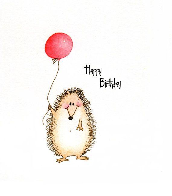 Cute Hedgehog Happy Birthday greeting card by CartoonGirlDesigns, $2.50