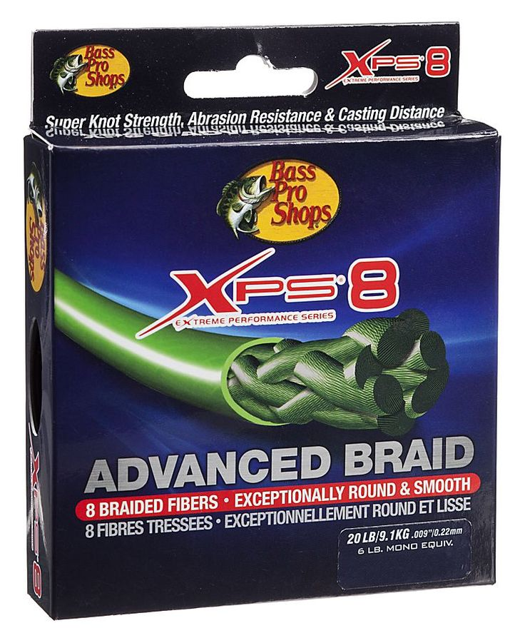 Bass pro shops xps 8 advanced braid fishing line 150 for Green top hunting and fishing
