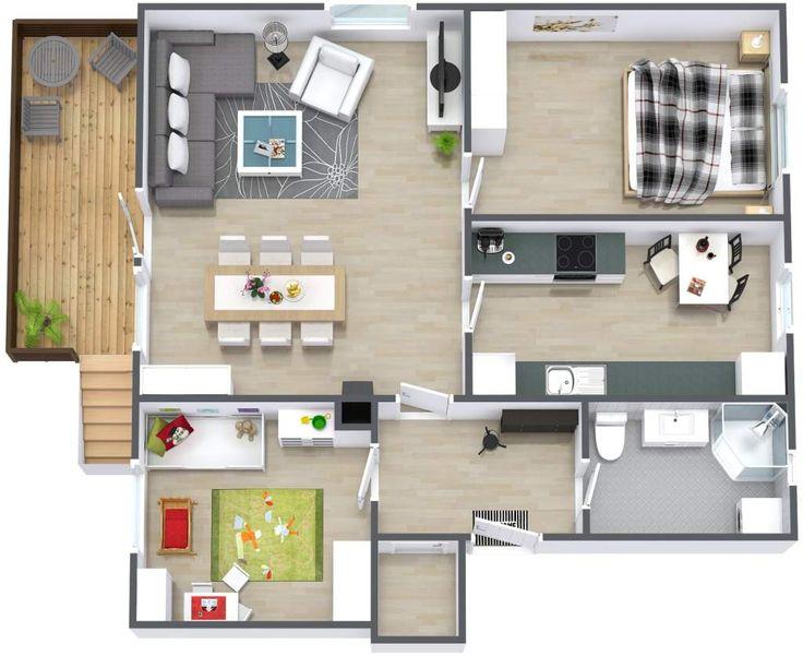 blueprint designs for homes with medium flat 3d floor plan - Blueprints For Homes