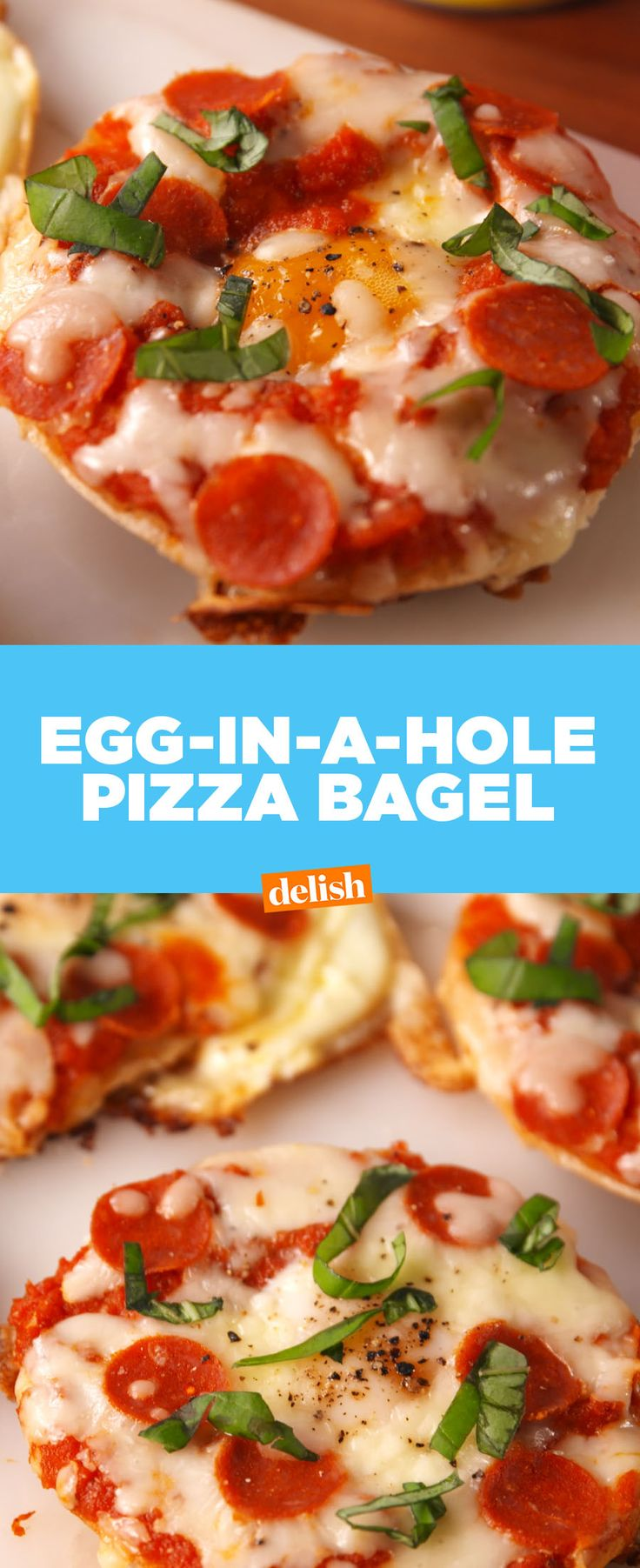 Egg-In-A-Hole Pizza Bagels are the best thing to happen to breakfast since avo toast. Get the recipe at Delish.com.