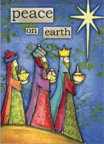 """Peace on Earth Garden Flag measures 13"""" x 18"""" at our every day low price. Holiday garden flag features Three Wise Men. Artist Lisa Kaus at her best creating this holiday flag with rich colors and details. Reads correctly from both sides. Shop at Flags On A Stick and save on all your holiday garden flags today!"""