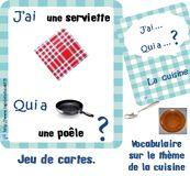 vocabulaire et langage maternelle pour la cuisine - jeu de cartes