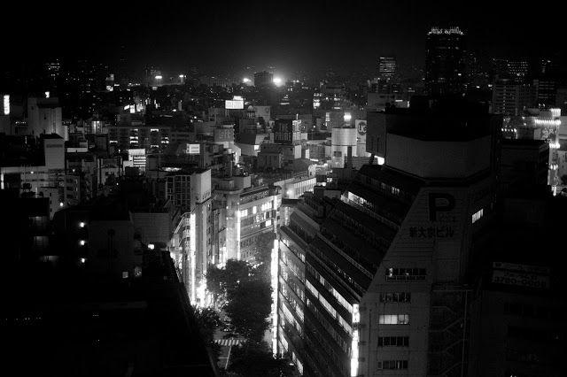 Night, City, Black White, Big, Tokyo, street, light,