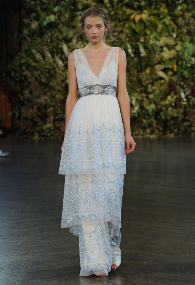 Blue Bohemian Wedding Dress | Claire Pettibone Wedding Dresses Fall 2015 | Kurt Wilberding | blog.theknot.com