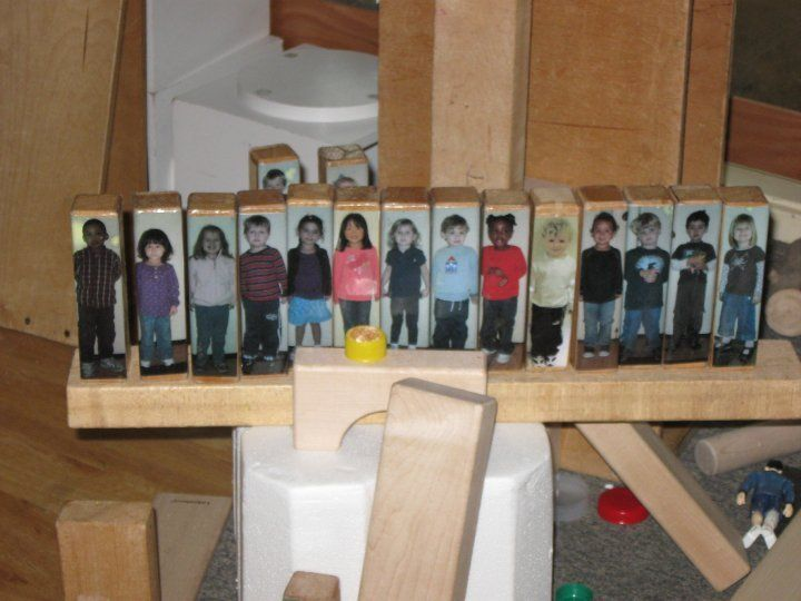 Taking photos of each child and gluing them to a block. Makes it very personal and included in the classroom. This would be great as a social and interactive ice breaker activity as well as incorporating these blocks into normal block and construction play. From a Reggio inspired website. Great!