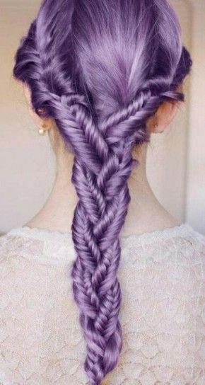 Treccine a spina di pesce capelli lilla