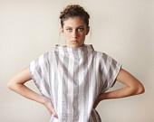 Women Stripes Dress, White and Gray Dress: Gray Dress
