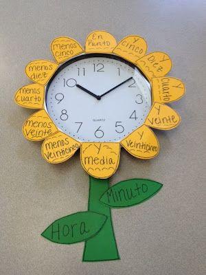 Este pin es una divertida manera de aprender a leer la hora en Español.