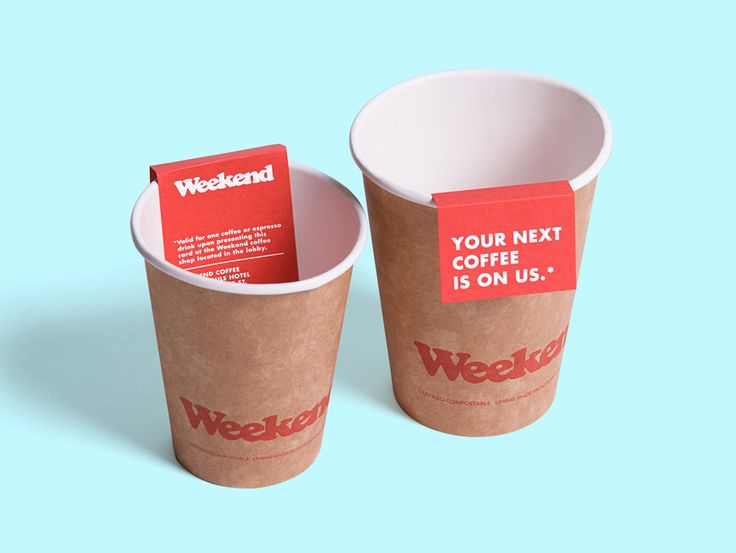Logo and coffee cups with a red board and white ink detail designed by RoAndCo for Dallas coffee shop Weekend
