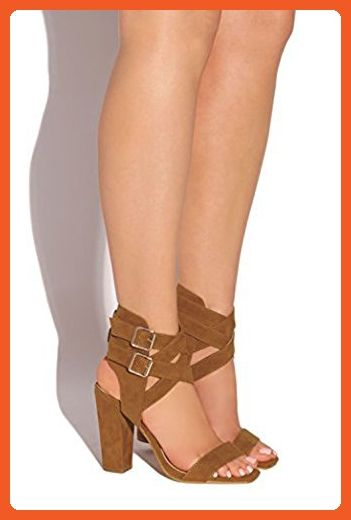 CR Sienna-1 Ankle Cuff Two Piece Stacked Heel Buckle High Heel Sandals (9, Camel) - Pumps for women (*Amazon Partner-Link)