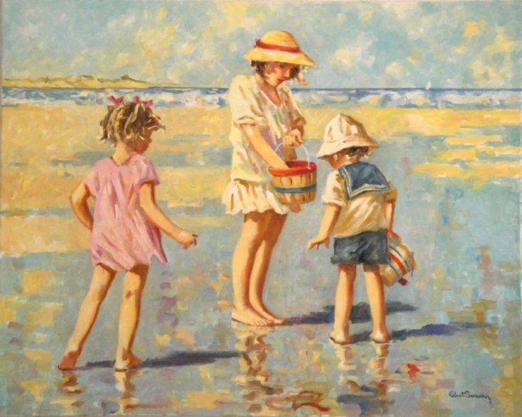 Beach Paintings Robert Sarsony A Seaside Basket 24 x 30  robertsarsony.com
