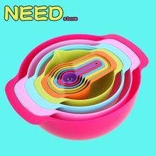 Nuevo Arco Iris Creativa Utensilios de cocina Tazón Trajes Coloridos Taza De Medición Multi-funcional Líquido Polvo De Cocinar Hornear Cuchara Dosificadora(China (Mainland))