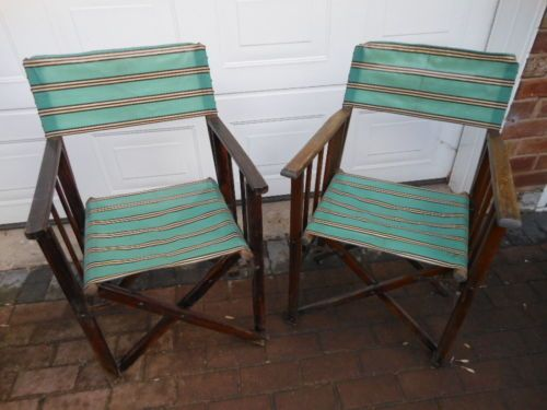 2 Wooden Vintage Folding Garden,Camping,Fishing Directors Deck Chairs  eBay