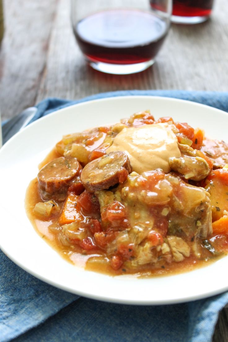Chicken and Sausage Bouillabaisse with Rouille, a one-pot meal with simple ingredients and tons of flavor. From the food blog, SoufflesandSawdust.com