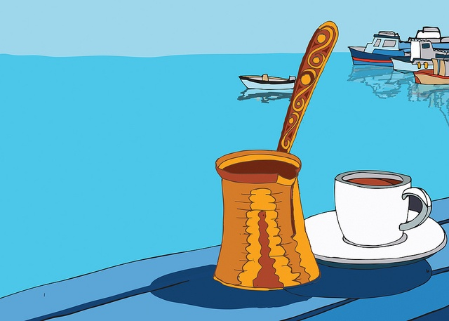 VISIT GREECE| Greek #coffee is a strong brew, served with foam on top and the grounds in the bottom of the cup. Although it can be made in a different pot, the traditional small pot is best because it allows the proper amount of foam, which adds to the unique taste. photo by DimitraTzanos.