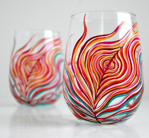 Neon Peacock Feather Stemless Wine Glasses. Hand Painted by Mary Elizabeth Arts