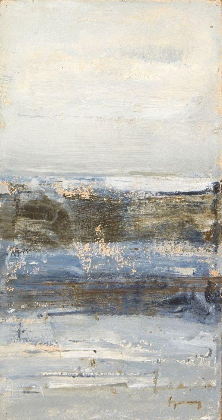 ARPAD SZENES (1897-1985)  Sans titre Peinture sur papier marouflé sur toile.  H_36 cm L_18,5 cm