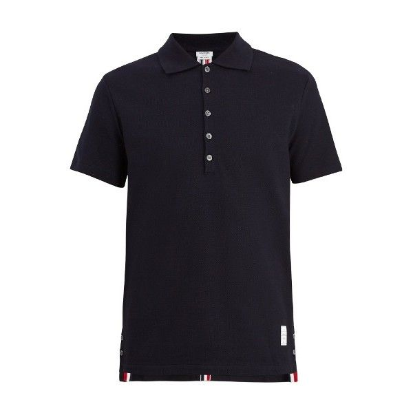 Thom Browne Stripe classic cotton polo shirt ($470) ❤ liked on Polyvore featuring men's fashion, men's clothing, men's shirts, men's polos, navy, mens navy blue shirt, mens striped shirt, mens navy shirt, mens multi coloured shirts and mens striped button down shirts