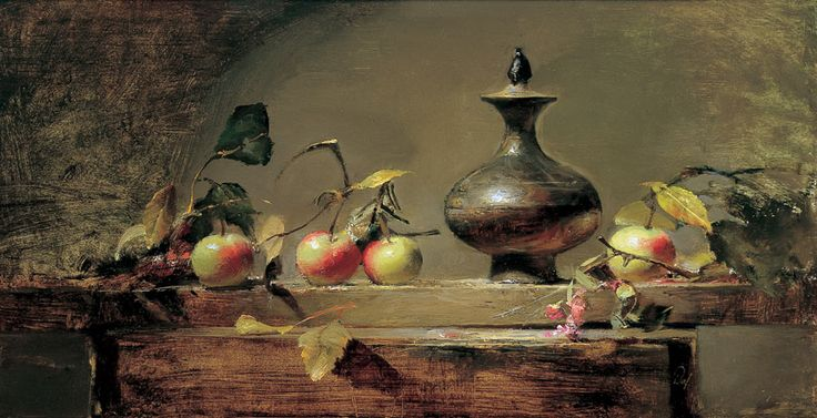 "David A. Leffel (American, born 1931) ""Crab Apples and Medieval Vase"", 1997"