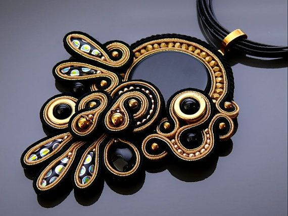 Black and gold colour Soutache pendant with Onyx and от ANBijou