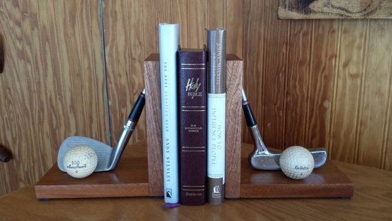 Golf Club Book Ends Book Ends Golf Decor by SaultydogCreations, $75.00